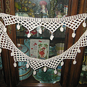 Antique French Hand Crochet V Shaped Trim w/24 Crochet Dangles-One Continuous Piece