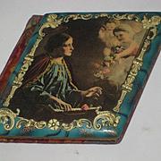 1905 Celluloid Autograph Book Album w/2 Cherubs, Flowers & Religious Figure with Halo