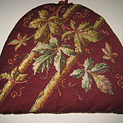 Antique Beadwork & Needlepoint Tea Cozy with Beaded Leaves-Double Sided