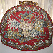 Antique Beadwork Needlepoint Tea Cozy & Cover w/Grapes, Double Sided