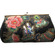 1920's Chinese Silk Embroidered Floral Clutch Purse w/Chinese Couple, Metallic & Tambour Work-Never Used