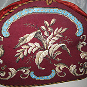 Antique Beadwork & Needlepoint Tea Cozy w/Beaded Leaves, Scrollwork Double Sided