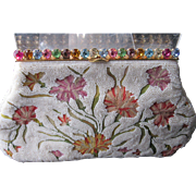 Vintage Josef Hand Beaded France Clutch w/Tambour Embroidery & Jeweled Frame