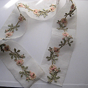 15 French 1920's Ribbon Work Appliqués in Pink, Sage Green w/Gold Metallic Detail-1 Continuous Piece
