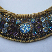 Vintage Prong Set Multi Color Rhinestone Gold Mesh Choker Necklace