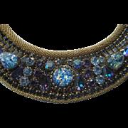 Vintage Prong Set Multi Color Rhinestone Gold Mesh Choker Necklace
