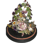 Victorian Silk Thread Floral Basket on Wood Base-Pansies, Other Flowers