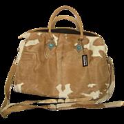 """DO NOT BUY- ON HOLD FOR """"D""""-Vintage Large Ann Turk Cowhide Fur Travel Tote Bag w/2 Shoulder Straps"""