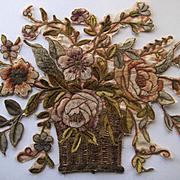 Huge Antique French Chenille & Metallic Appliqué-Flower Basket