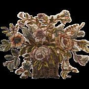 Huge Antique French Chenille & Metallic Appliqué-Flower Basket - Red Tag Sale Item