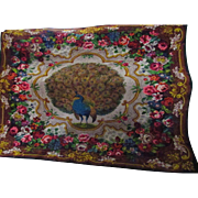 Victorian Soft Wool Peacock Floral Throw, Bed Cover, Rug, Wall Hanging-Looking Left