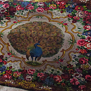 Victorian Soft Wool Peacock Floral Throw, Bed Cover, Rug, Wall Hanging-Looking Right