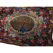 "ON HOLD FOR ""R""-DO NOT BUY-Victorian Soft Wool Peacock Floral Throw, Bed Cover, Rug, Wall Hanging-Looking Right"