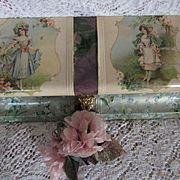 Victorian Celluloid Box w/Winged Cherubs, Young Ladies-Brundage Signatures