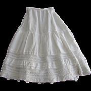 "Antique Long White Linen Petticoat Skirt w/Crochet Lace-27 1/2"" Waist"