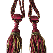 C. 1900's Pair of French Drapery Curtain Tie Backs w/Braided Silky Tassels-Claret Red, Goldish Yellow, Black