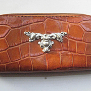 1980's Ann Turk Moc Croc Leather Wallet in Carmel Color