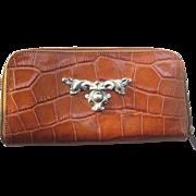 1980's Ann Turk Moc Croc Leather Wallet in Carmel Color