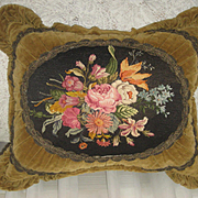 Antique Velvet Pillow w/Floral Needlepoint Petit Point & Metallic Trim