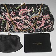 Vintage Josef Hand Beaded France Tambour Embroidered Purse w/Contents-Never Used