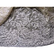 Antique French Net Lace Skirt Flounce w/Floral Scrollwork