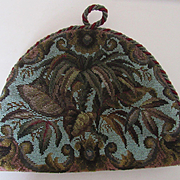 Antique Beaded & Velvet Tea Cozy with Leaf Design