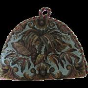 Antique Beaded & Velvet Tea Cozy with Leaf Design