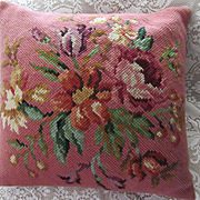 2DIE4-Vintage Lrg Floral Needlepoint Wool Pillow-2 Available
