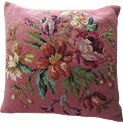 2DIE4-Vintage Extra Large Floral Needlepoint Wool Pillow