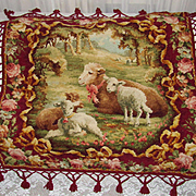 Victorian Chenille Tasseled Table Cover w/Baby Sheep, Mother & Roses