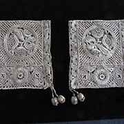 Pair Antique Silvery Gold Metallic Doilies with Metallic Ball Dangles