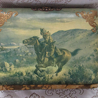 Antique Celluloid Photo Album w/Cowboy on Galloping Horse Chasing an Indian on Horseback