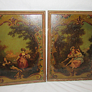 PR Antique Signed Laurent Partially Painted Pictures of French Couple, Roses