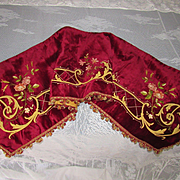 C. 1880's French Velvet Valance Pelmet with Tambour Embroidery