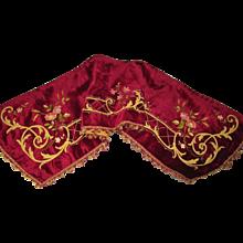 C. 1880's French Velvet Valance Pelmet with Tambour Embroidery