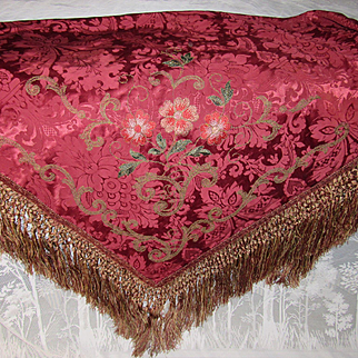 Antique French Damask Table Cover with Metallic Trim, Silky Flowers & Heavy Hand Knotted Fringe