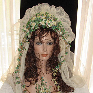 C. 1890's French Wax Wedding Tiara & Veil w/Tendrils, Fabric Flowers, Paper Leaves & Boutonniere