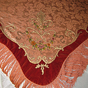 Antique French Table Cover Piano Shawl w/Velvet Trim, Chenille Flowers, Metallic Detail