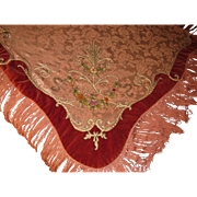 Antique French Table Cover Piano Shawl w/Velvet Trim, Chenille Flowers, Metallic Detail - Red Tag Sale Item