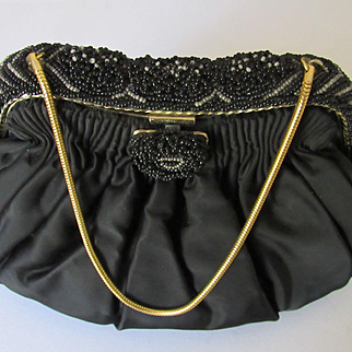 Vintage Black Silk Satin K & G Charlet Purse w/Beaded Frame-Never Used