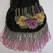 1920's Black Velvet & Hand Embroidered & Beaded Pansies Hiawatha Design Purse
