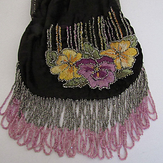 1920's Black Velvet & Hand Embroidered & Beaded Pansies Hiawatha Design Purse