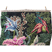 Vintage Handmade Petit Point Imported Purse w/Orchids-Marcasite Frame-Unused