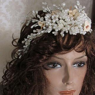 Vintage Wax Wedding Tiara with Flowers