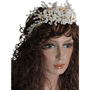 Vintage Wax Wedding Tiara with Flowers