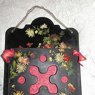 Victorian Hand Painted Paper Mache Hanging Magazine Holder with Chrysanthemums