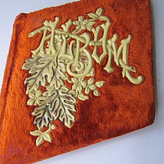 Victorian Celluloid & Orange Velvet Autograph Album Book