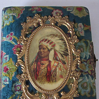 Victorian Indian Chief Celluloid & Velvet Photo Album
