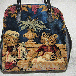 Lrg. 1950's Marlow Carpet Bag Purse-Cats at Tea Time & 3 Horses-Dbl Sided