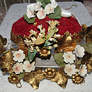Antique French Wedding Cushion Display with Wax Corsage & Ceramic Flowers